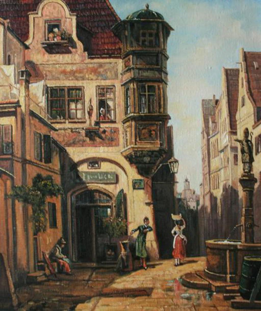 Carl Spitzweg (1808-1885) - Der verliebte Provisor 1878 31.7 × 26.5 cm München Öl auf Holz