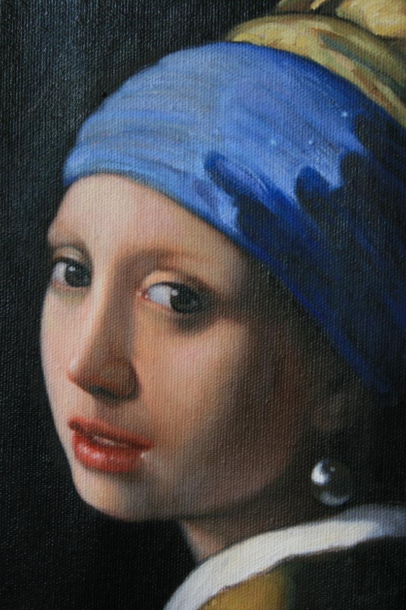 Jan Vermeer -Das Mädchen mit dem Perlenohrgehänge (Original von 1665 ) als Auftragsmalerei in 45 cm x 40 cm in Öl auf Leinwand