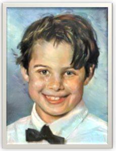 Kinderportrait auf Leinwand - gespachtelt