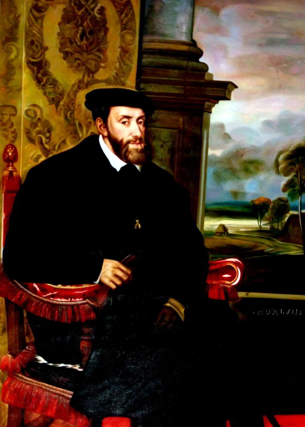 Tizian - Porträt des Karl V. im Lehnstuhl
